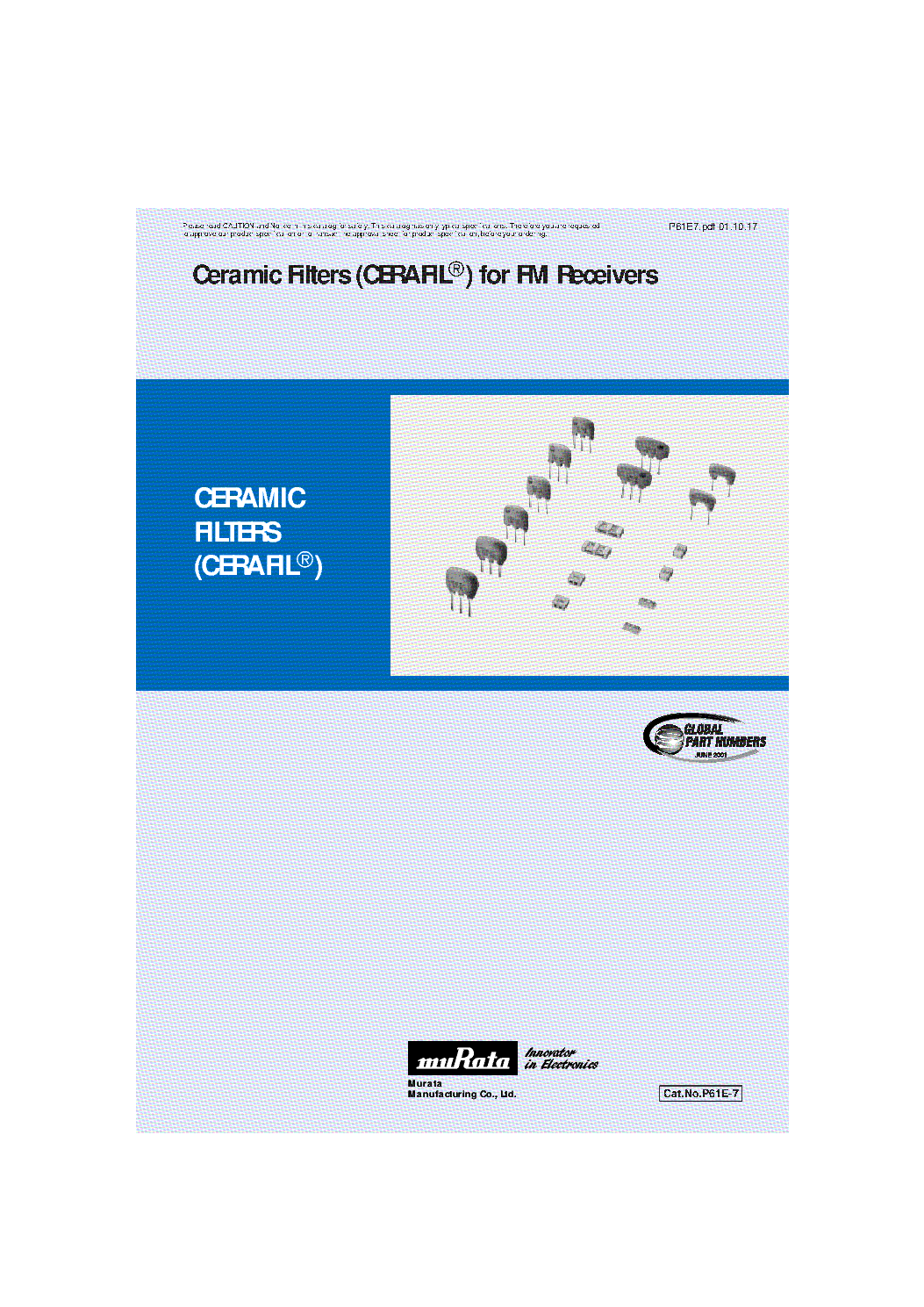 MURATA CERAMIC FILTERS [CERAFIL] FOR FM RECEIVERS CATALOGUE service manual (1st page)